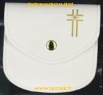 Pochette à chapelet blanche et croix dorée